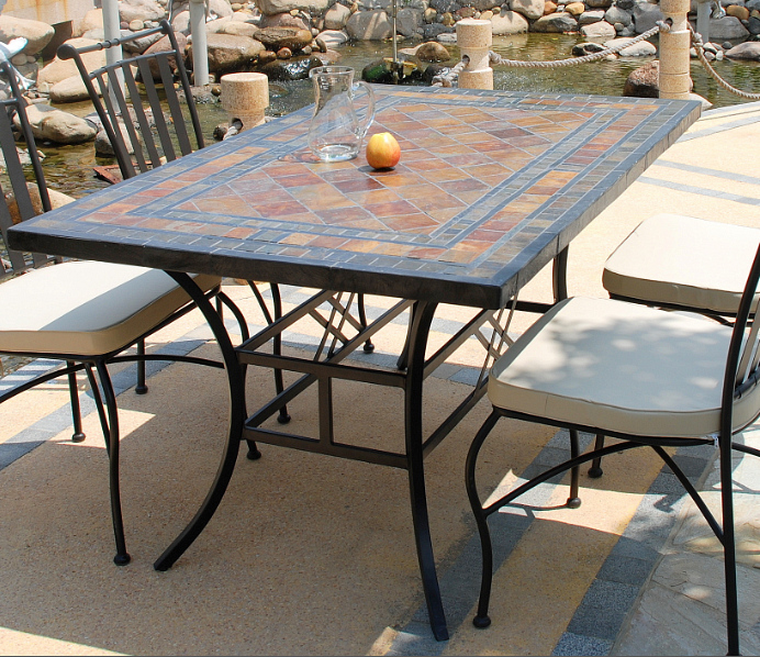 Living roc ameublement en pierre naturelle tables en - Table de jardin en fer forge mosaique montreuil ...